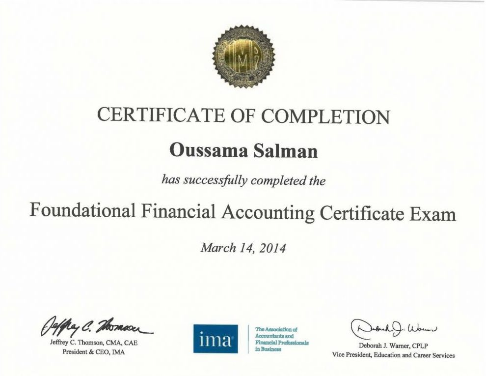 Ffac Foundational Financial Accounting Certificate From Ima Usa
